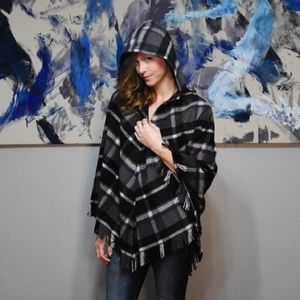 Black and Purple Plaid Zip-up Hooded Cape